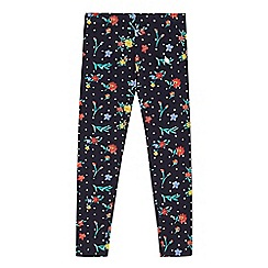 bluezoo - Girls' navy spotted floral leggings