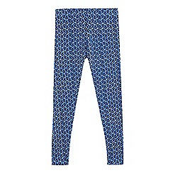 bluezoo - Girls' navy flower tile leggings