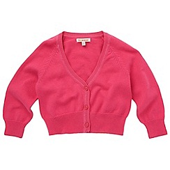 bluezoo - Girl's dark pink knitted cardigan