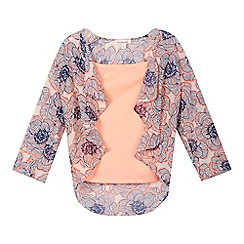 bluezoo - Girls' orange vest top and floral waterfall kimono set