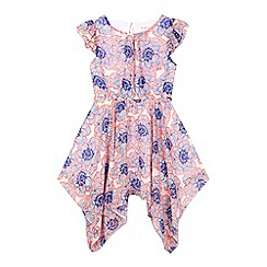 bluezoo - Girls' orange floral hanky hem dress