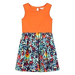 bluezoo - Girls' orange bird print dress