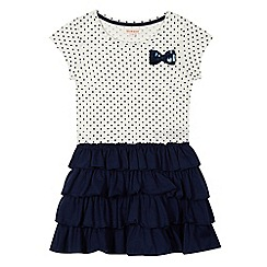 bluezoo - Girls' navy spotted rara dress