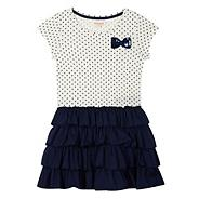 Girls' navy spotted rara dress