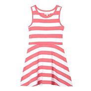 Girls' pink striped sleeveless dress