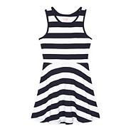 Girls' navy striped sleeveless dress