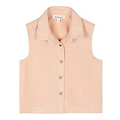 bluezoo - Girls' pale pink sleeveless suedette shirt