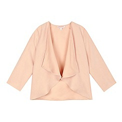 bluezoo - Girls' pale pink suedette waterfall jacket