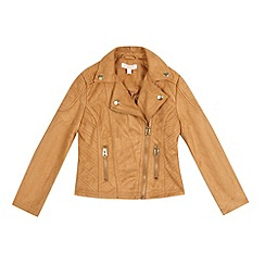 bluezoo - Girls' tan suedette biker jacket