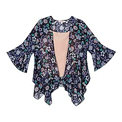bluezoo - Girl's navy floral kimono and pink cami top set