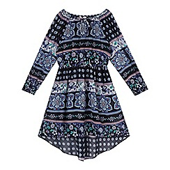 bluezoo - Girls' navy floral dipped hem dress