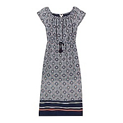 bluezoo - Girls' navy floral tile print dress