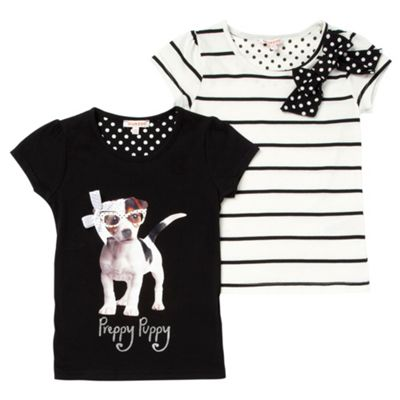 Girls Pack Of Two Black And Cream Preppy Puppy T-shirts