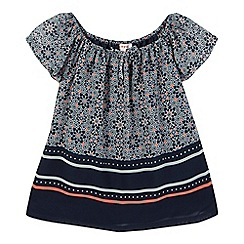bluezoo - Girls' navy tile print gypsy top