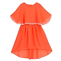 bluezoo - Girls' neon coral layered chiffon dress