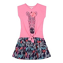 bluezoo - Girls' pink zebra print top and skirt set