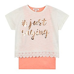 bluezoo - Girls' cream 'Just Saying' 2-in-1 lace top set