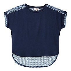 bluezoo - Girls' navy flower tile insert top