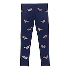 bluezoo - Girls' navy diamante bee leggings
