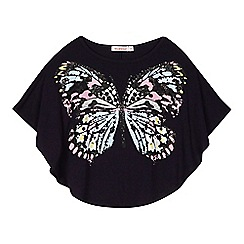 bluezoo - Girls' navy butterfly sparkle cape top
