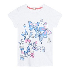bluezoo - Girls' white glittery butterfly print t-shirt