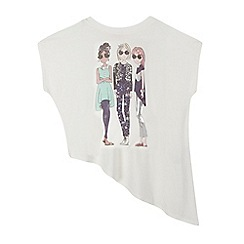 bluezoo - Girls' cream three friends print asymmetric top