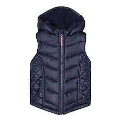 bluezoo - Girls' navy quilted hooded gilet
