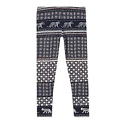 bluezoo - Girls' navy tiger tile leggings