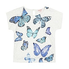 bluezoo - Girls' white lace butterfly print top