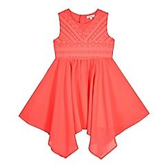 bluezoo - Girls' pink hanky hem embroided dress