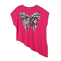 bluezoo - Girls' bright pink asymmetric butterfly sparkle top