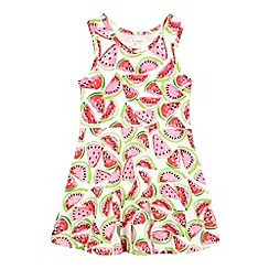 bluezoo - Girls' pink and green watermelon print dress