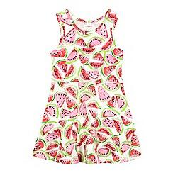bluezoo - Girls' pink and green watermelon print dress