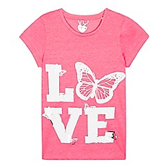 bluezoo - Girls' pink 'Love' butterfly print t-shirt