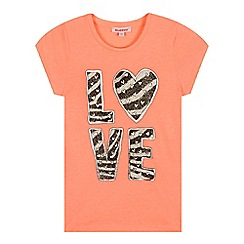 bluezoo - Girls' coral 'Love' heart print t-shirt