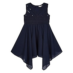 bluezoo - Girls' navy sequin embellished hanky hem dress