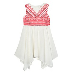 bluezoo - Girls' pink Aztec print hanky hem dress