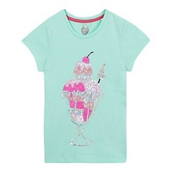bluezoo - Girls' light turquoise sequin ice cream t-shirt