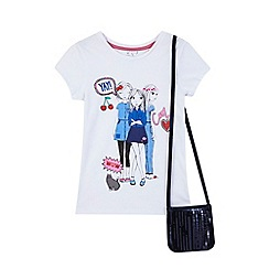 bluezoo - Girls' white printed t-shirt with a bag