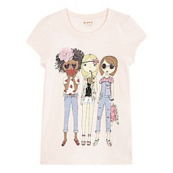 bluezoo - Girls' pink girl print t-shirt