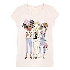 bluezoo - Girls' pink girl print t-shirt
