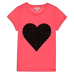 bluezoo - Girls' pink two-way sequinned heart t-shirt