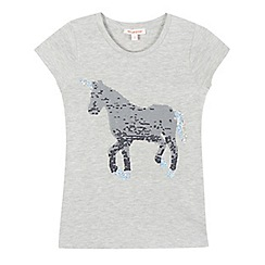 bluezoo - Girls' grey sequin unicorn print t-shirt