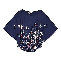 bluezoo - Girls' navy butterfly printed cape