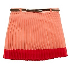 J by Jasper Conran - Designer girl's coral pleated belted skirt