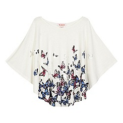 bluezoo - Girls' cream butterfly printed cape