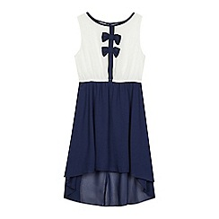bluezoo - Girls' ivory and navy bow applique dress