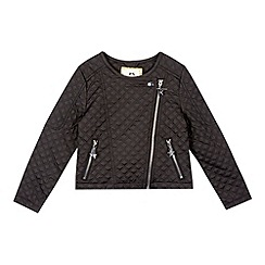 Star by Julien Macdonald - Girls' black quilted biker jacket
