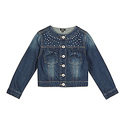 Star by Julien Macdonald - Girls' dark blue diamante denim jacket