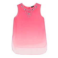Star by Julien Macdonald - Girls' pink ombre-effect embellished neck tunic